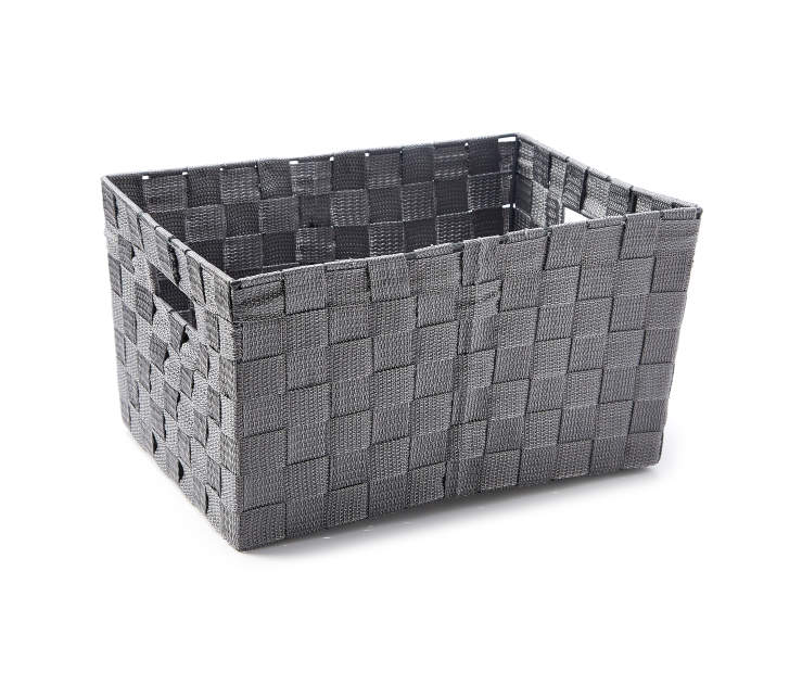 Medium Gray Woven Strap Bin silo angled
