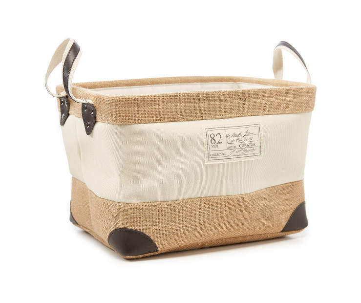 Medium Rustic Natural Canvas Storage Bin silo front