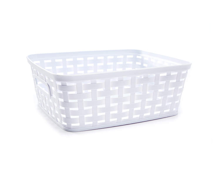 Medium White Weave Basket silo side view