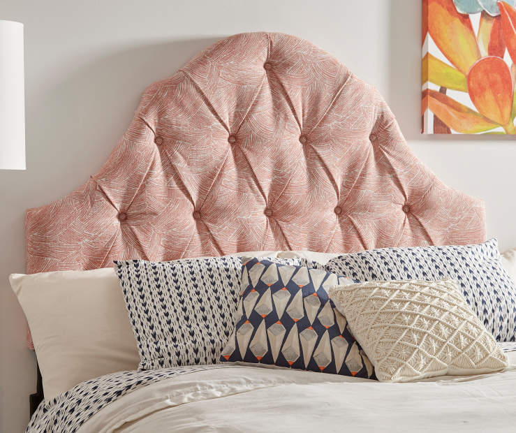 Melon Button Tufted Queen Upholstered Headboard bedroom setting