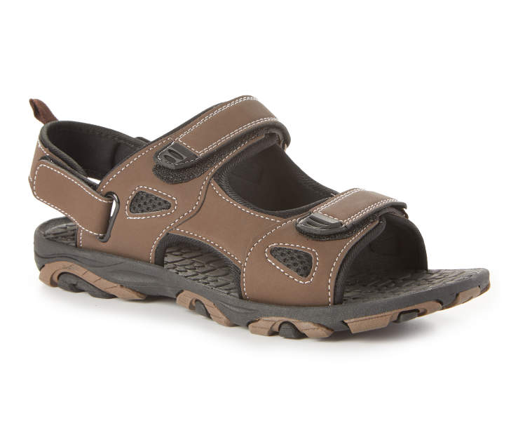 Men's Rugged Sandal, Brown, Size L Silo Image Front View