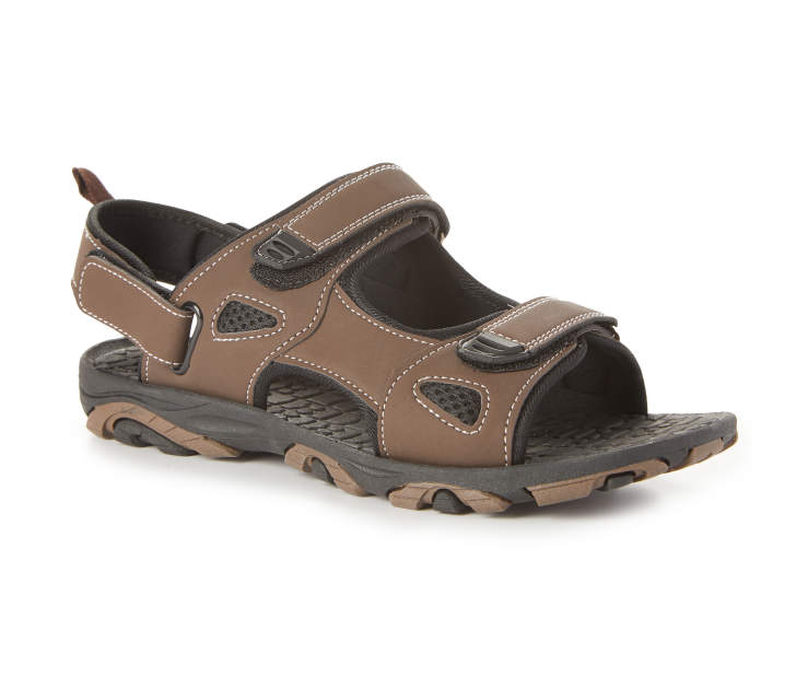 Men's Rugged Sandal, Brown, Size M Silo Image Front View