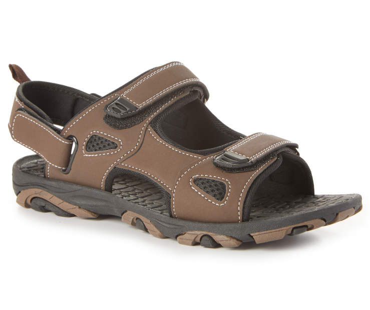 Men's Rugged Sandal, Brown, Size XL Silo Image Front View