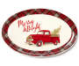 Merry and Bright Retro Truck Plaid Oval Serving Platter Silo Image