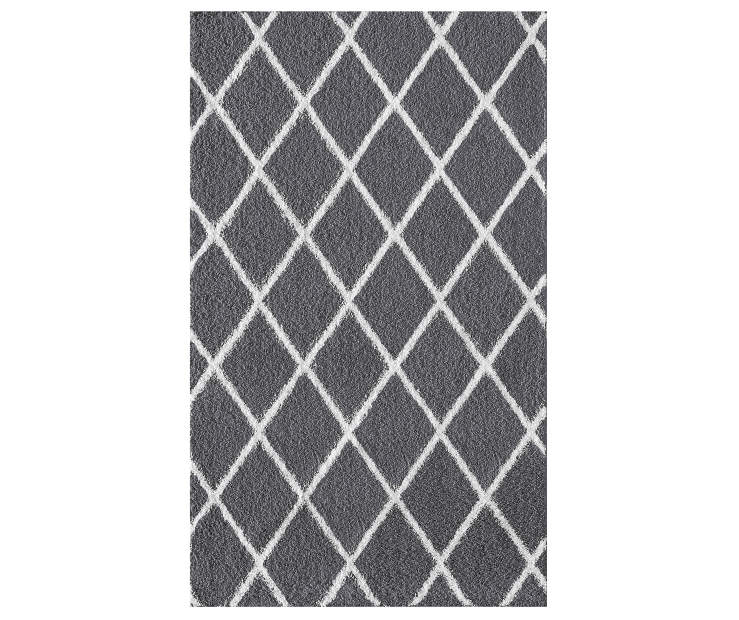 Mesa Brampton Gray and White Diamond Accent Rug 2 Feet 4 Inches by 3 Feet 9 Inches Overhead View Silo Image