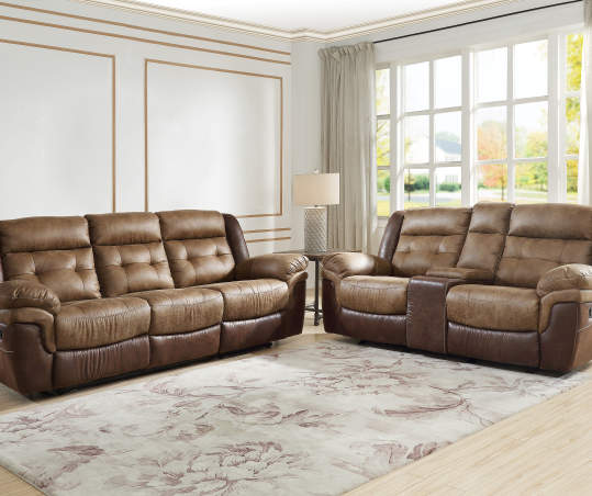 Mesa Brown Faux Leather Motion Reclining Sofa | Big Lots