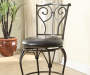 Metal Frame 24 Inch with Brown Swivel Cushion Barstool in Room Setting