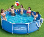 Metal Frame Pool 10 Feet by 30 Inches Outdoor Setting with Models Lifestyle Image