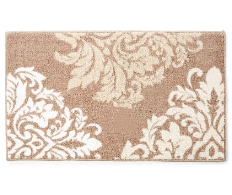 Mia Tan and Linen Damask Accent Rug 1 feet 8 inch x 2 feet 10 inch silo front