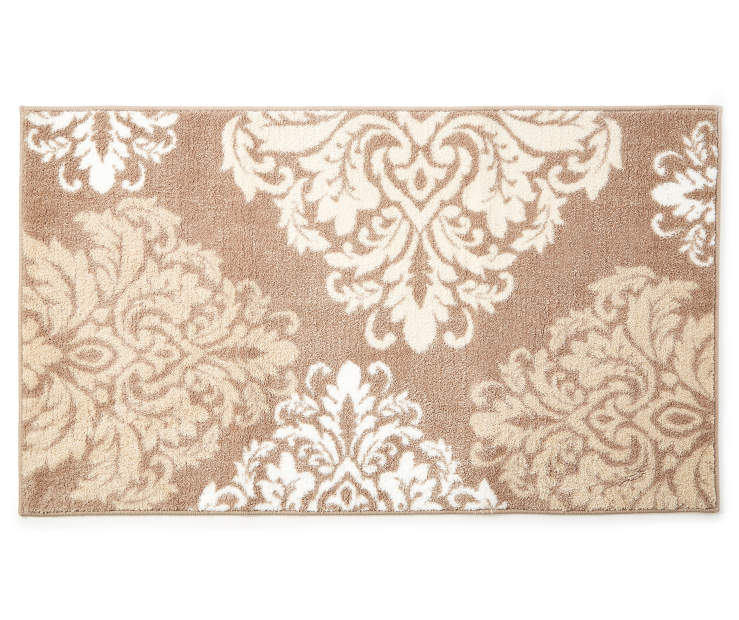 Mia Tan and Linen Damask Accent Rug 2 feet 4 inch  x 4 feet silo front