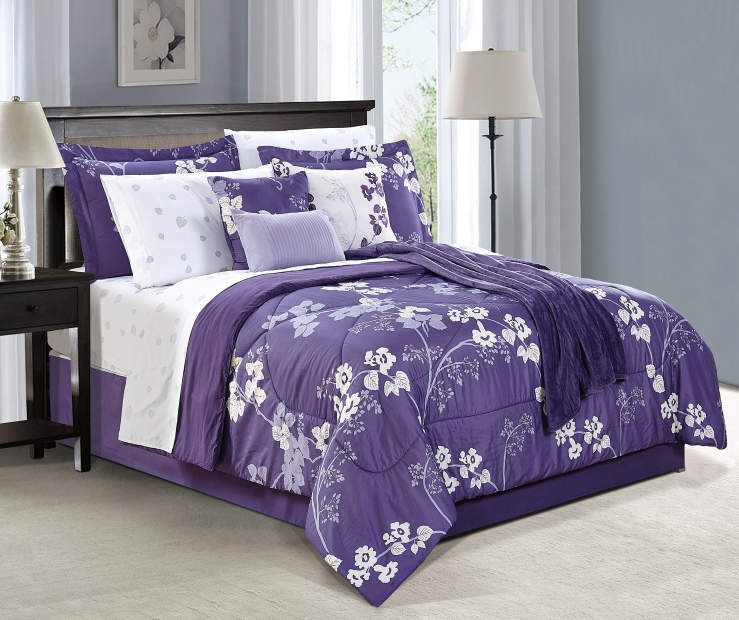 Milly Purple Floral 12 Piece Full Reversible Comforter Set On Bed Room Environment Lifestyle Image