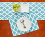 Minderal Blue and White Tile Placemat and Table Runner Overhead View with Decor Silo Image