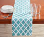 Minderal Blue and White Tile Table Runner 13 Inches by 72 Inches On Table with Decor Lifestyle Image