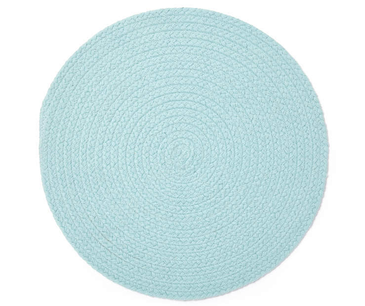 Mineral Blue Braided Round Placemat Overhead View Silo Image