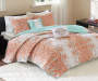 Minet Blue and Orange 5-Piece King Quilt Set Lifestyle Image
