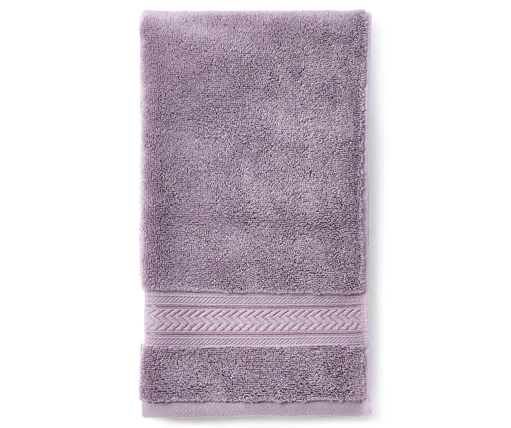 Minimal Lavender Hand Towel Folded Overhead View Silo Image