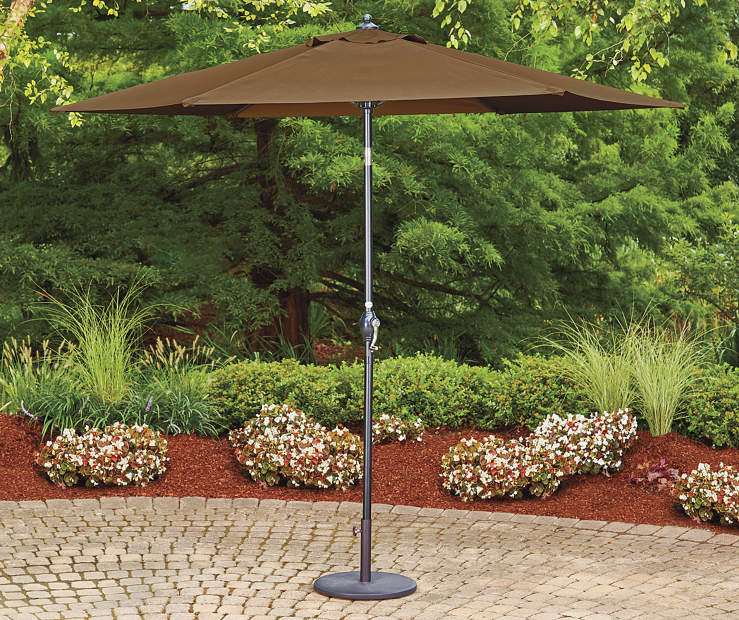 Mocha Brown Market Patio Umbrella 9 feet Lifestyle Image Patio
