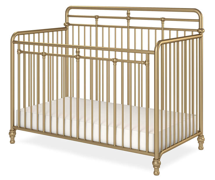 Monarch Hill Hawken Gold 3 in 1 Convertible Metal Crib silo front