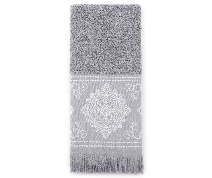 Monument Gray Jacquard Fringe Hand Towel Silo Image Overhead View