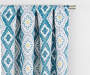 Moriah Teal Ikat Geo Blackout Single Curtain Panel 63 inches Cropped Lifestyle