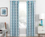 Moriah Teal Ikat Geo Blackout Single Curtain Panel 84 inches Lifestyle