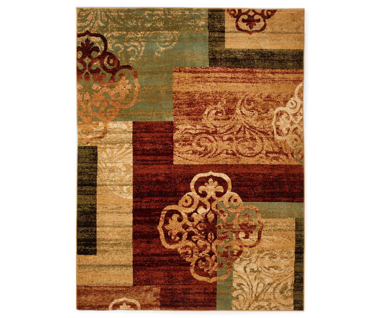 Multi Color Medallion Block Area Rug 5 feet 3 inch x 7 feet silo front