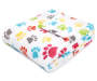 Multi Color Puppy Paws Soft Throw Silo angled Image