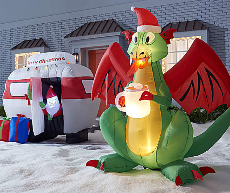 Inflatable Christmas Dragon.Mythical Camper Christmas Inflatables Big Lots