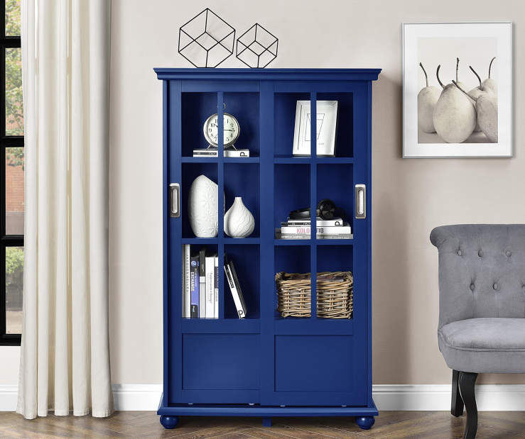 NAVY GLASS DOOR BOOKCASE