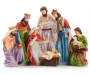 Nativity Scene Decor with Baby Jesus, Mary, Joseph, The Three Wisemen and a Shephard carrying a sheep in painted details front view silo image