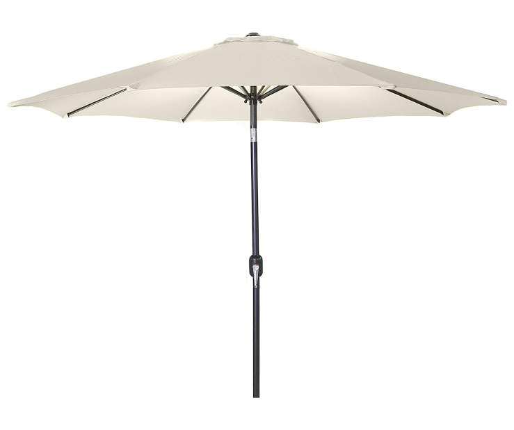 Natural Steel Market Patio Umbrella 9 Feet with Hand Crank Front View Silo Image