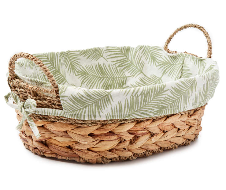 Natural Water Hyacinth Oval Tray with Palm Leaf Liner silo front