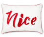 Naughty or Nice Lumbar Throw Pillow 13 inch x 18 inch silo front