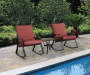 Navona Red 3 Piece Cushion Rocker and Table Set lifestyle view