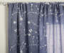 Navy Blue Floral Embroidery and Sheer Voile Curtain Panels 4 Piece Set Corner Pattern Detail