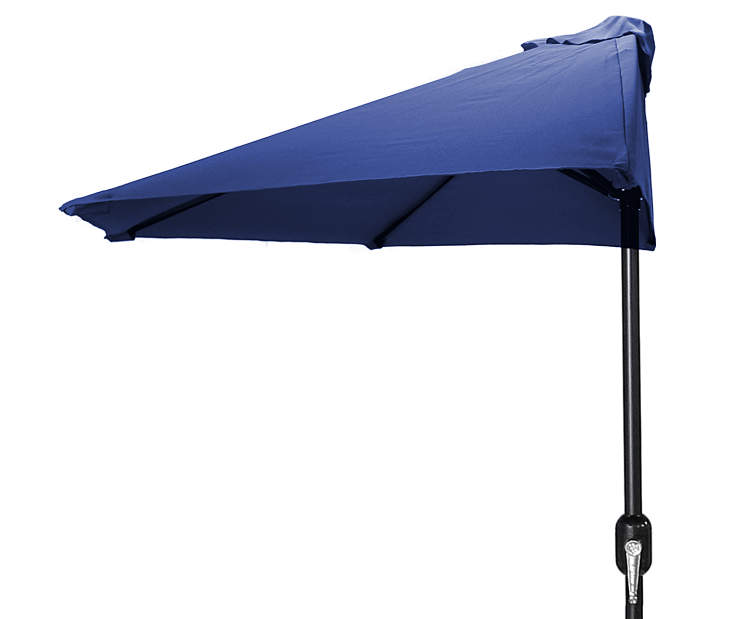 Navy Blue Half Market Patio Umbrella 7 Feet 2 Inches with Hand Crank Front View Silo Image