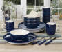 Navy Blue Hand Painted 28 Piece Dinnerware Set lifestyle
