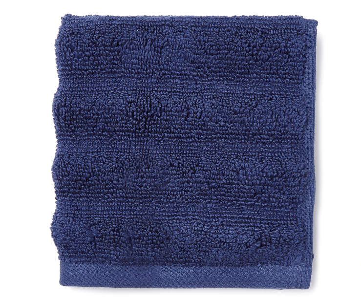 Navy Blue Hand Ribbed Wash Cloth Folded Silo Image Overhead View