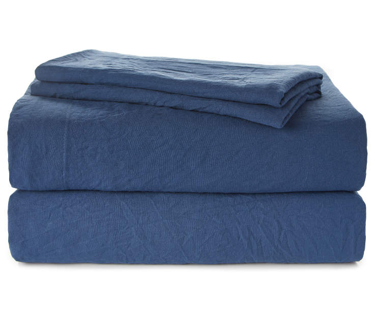 Navy Blue King 4 Piece Sheet Set Silo Folded and Stacked