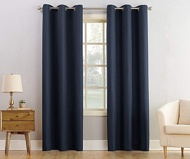 Navy Blue Montego Grommet Curtain Panel 84 Inches On Window Room Environment Lifestyle Image