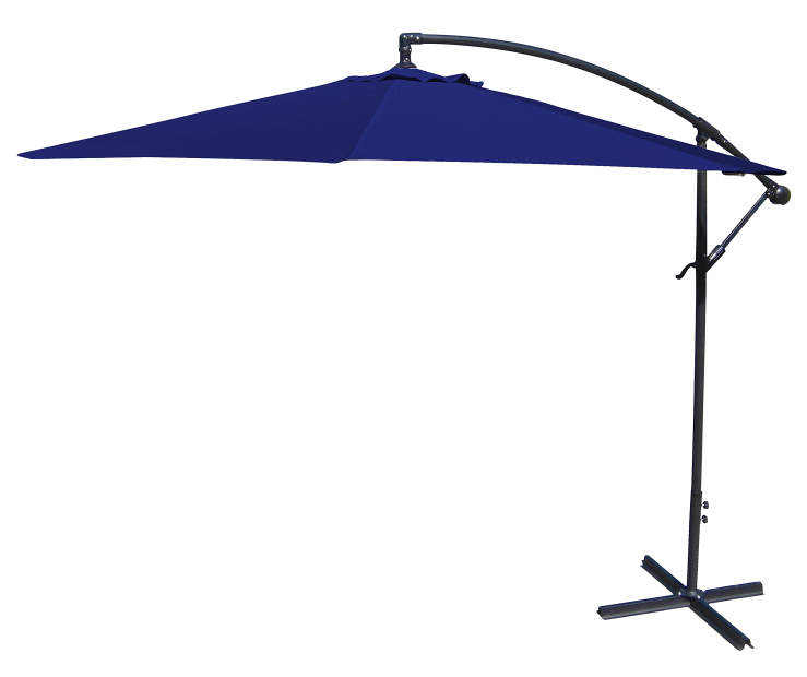 Navy Blue Offset Patio Umbrella 10 Feet with Hand Crank Side View Silo Image
