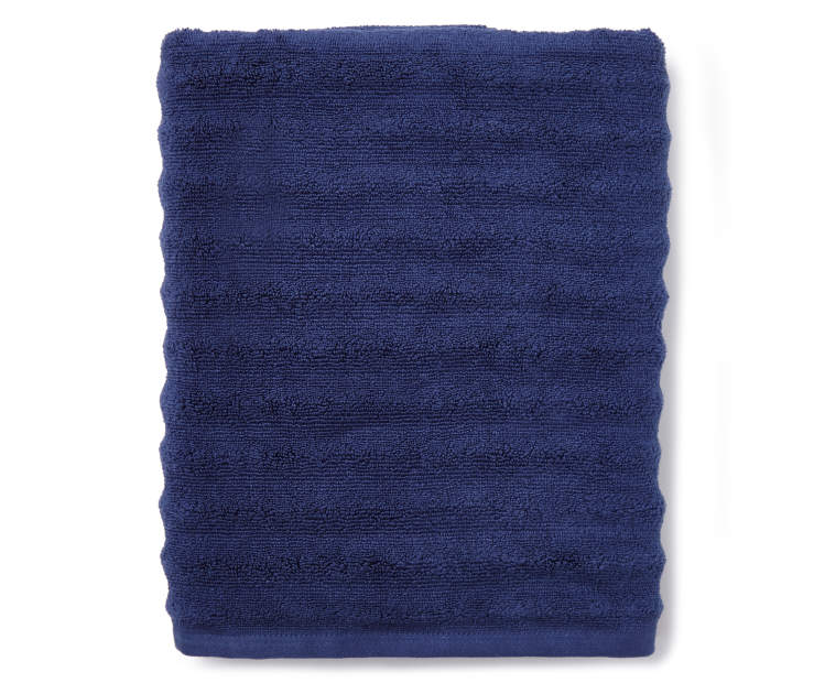 Navy Blue Ribbed Bath Towel Folded Silo Image Overhead View