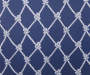 Navy Blue Rope Trellis and Stripe Reversible Outdoor Seat Pads 2 Pack Rope Swatch