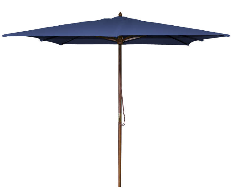 Navy Blue Square Market Wood Umbrella 8.5 Feet with Pull String Front View Silo Image