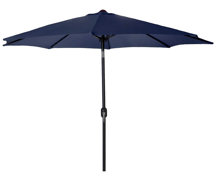 Navy Blue Steel Market Patio Umbrella 7.5 Feet with Hand Crank Front View Silo Image