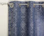 Navy Blue Suzani Embroidery and Sheer Voile Curtain Panels 4 Piece Set Corner Detail Pattern