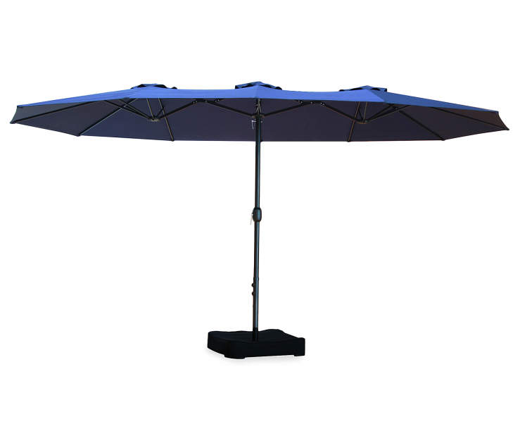 Navy Blue Triple Vent Umbrella 15 feet Silo Image Side View