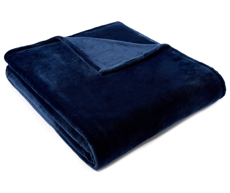 Navy Blue Twin Full Velvet Plush Blanket silo angled
