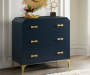 Navy Blue and Gold 3 Drawer Accent Chest lifestyle living room