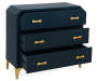 Navy Blue and Gold 3 Drawer Accent Chest silo angled draws open